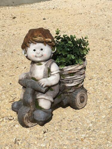 """Blumentopf Garten Gartenfigur /""""Junge auf Fahrrad als Pflanztopf/"""" Figur"""