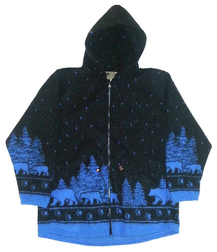 Black Bears Hooded Looped Wool Fleece Jacket SM - 3X