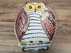Hand-Painted-Owl-shaped-18-x-13-dish-platter-centerpiece-by-Ceramiche-M-C