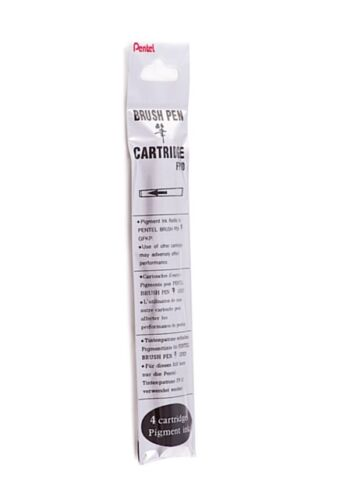 Pentel  Brush Pen Cartridge Refills FP10 Pack Of 4 Black