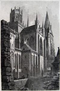 CATHEDRALE-NOTRE-DAME-DE-BAYEUX-KATHEDRALE-ORIGINAL-STAHLSTICH-1840