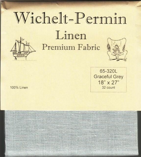 Wichelt Permin PREMIUM LINEN FABRIC 32 Ct Cross Stitch 18 x 27 IVORY