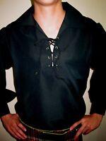 Black Jacobite Ghillie Kilt Shirt Small, Med, Large, Xl, 2xl, 3xl, 4xl