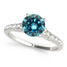 0.76 Cts Fancy Color Enhanced Blue Diamond 14k White Gold Trendy Wedding Ring
