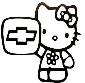 """fe143a2da HELLO KITTY CHEVROLET VINYL Decals Sticker 5"""" X 5"""" BUY 2 ..."""