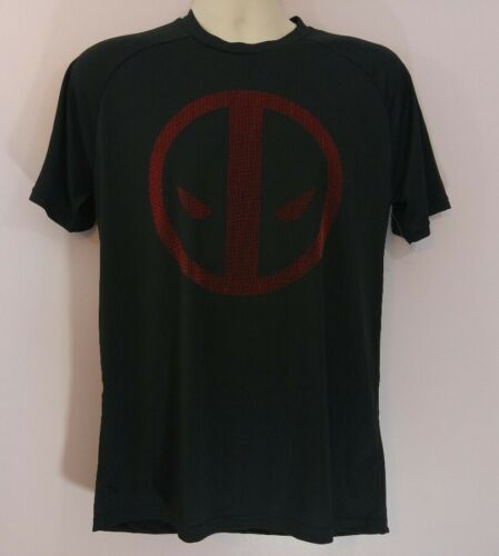 Deadpool Marvel Comics Mens Black Bristle Print Logo Short Sleeve T Shirt NWOT