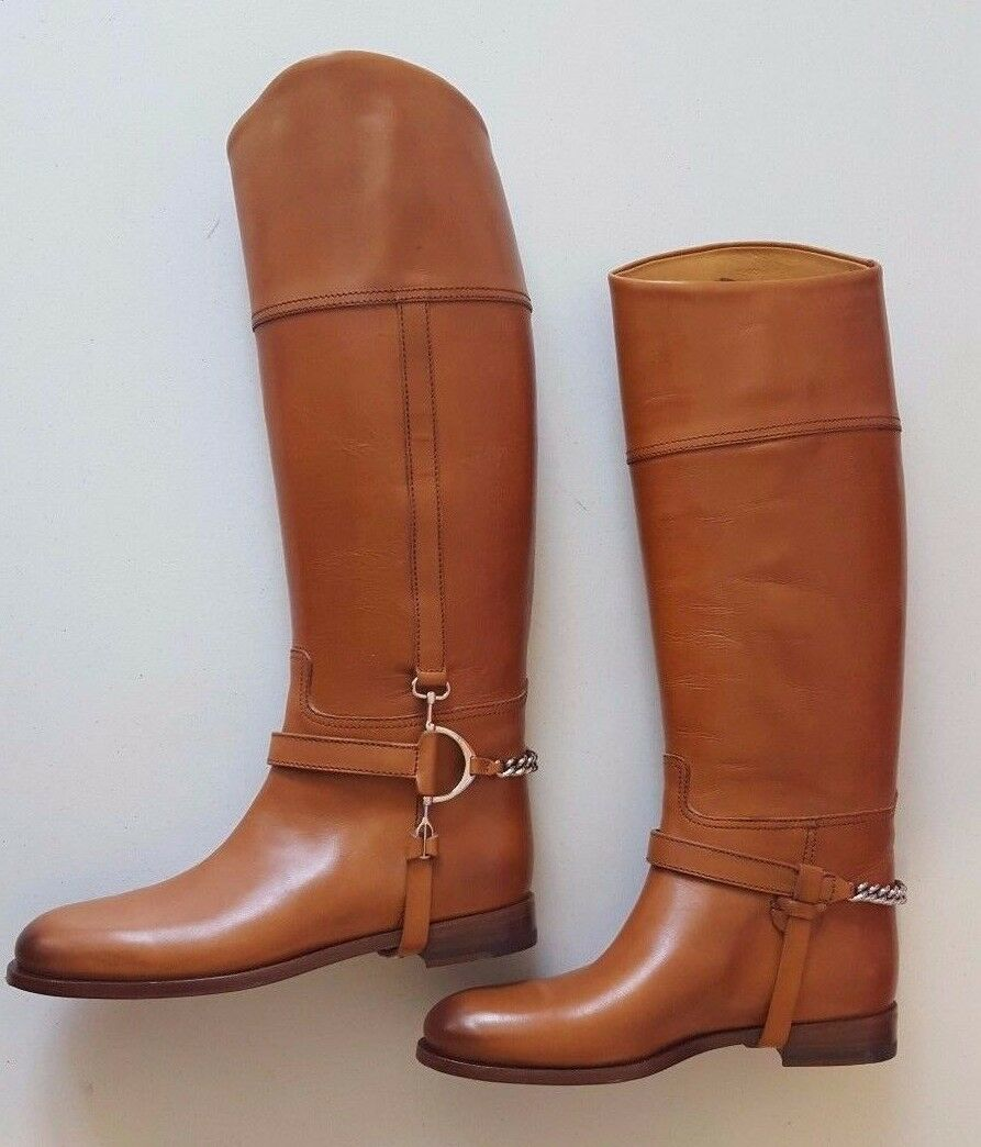 RALPH LAUREN COLLECTION SANDRA TAN BURNISHED CALF LEATHER RIDING BOOTS 7B ITALY