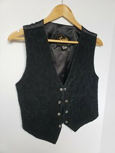 Vintage-Scully-Suede-Leather-Vest-Black-Embroidered-Oklahoma-Snap-Closure-Small