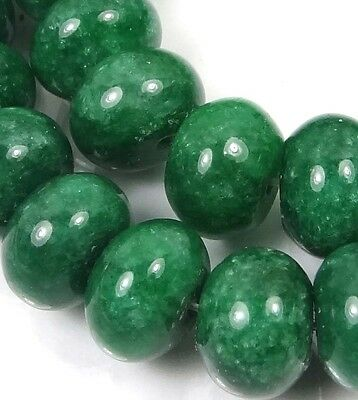 12x8mm Emerald Green Jade Rondelle Beads (25)