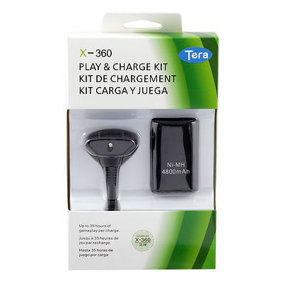 4800mAh Rechargeable Battery Pack + Charger Adapter Cable Fr Xbox 360 Controller