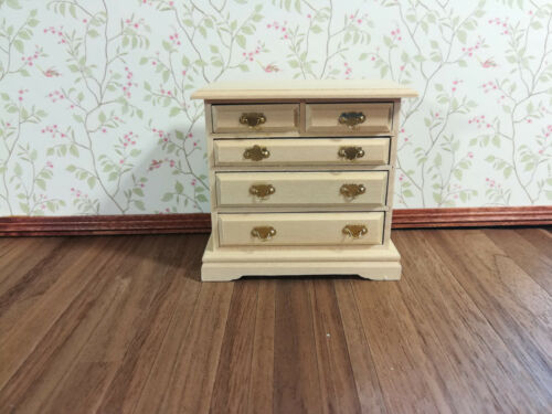 Dollhouse Miniature Unfinished 5 Drawer Dresser 1:12 Scale Furniture