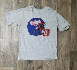 Mens-Vintage-90s-Champion-Brand-NCAA-Football-Helmet-Red-White-Gray-Blue-Shirt-L