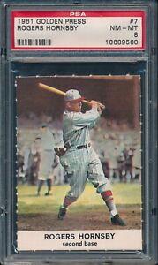 1961-Golden-Press-Baseball-Rogers-Hornsby-7-PSA-8-CARDINALS-NM-MT-HOF