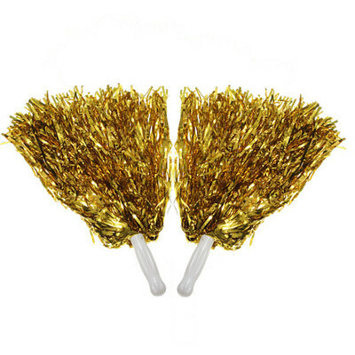 2Pcs Metallic Cheerleader Cheer Cheerleading Dance Party Dress Pom Poms Xmas MO