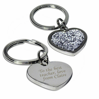 Personalised Diamante Heart Keyring-Engraved Free-Teacher, Graduation,Thank You