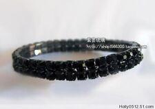 12Pcs black Rhinestone Bangles Bride 2Row Elegant Elastic Crystal Charm Bracelet