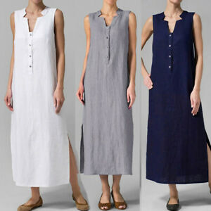 Womens-Summer-Sleeveless-Solid-V-Neck-Casual-Cotton-Linen-Tank-Maxi-Long-Dress
