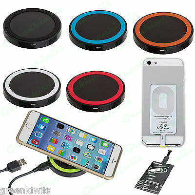 New Universal Qi Battery Power Wireless Charger Pad w/ Receiver For Smart Phone