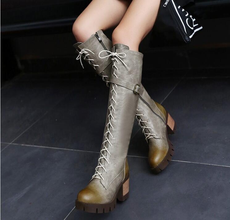 Womens Knee High Boots Lace Up Chunky Heels Heels Heels Vintage Belt Buckles Riding Booties c8bb60