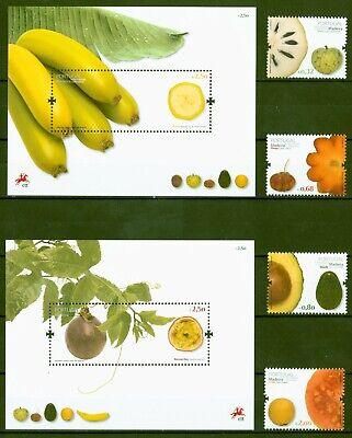 Madeira 2009 - Obst Früchte - Guave Banane Avocado - Nr. 291-94 + Block 42+43 ** Auswahlmaterialien