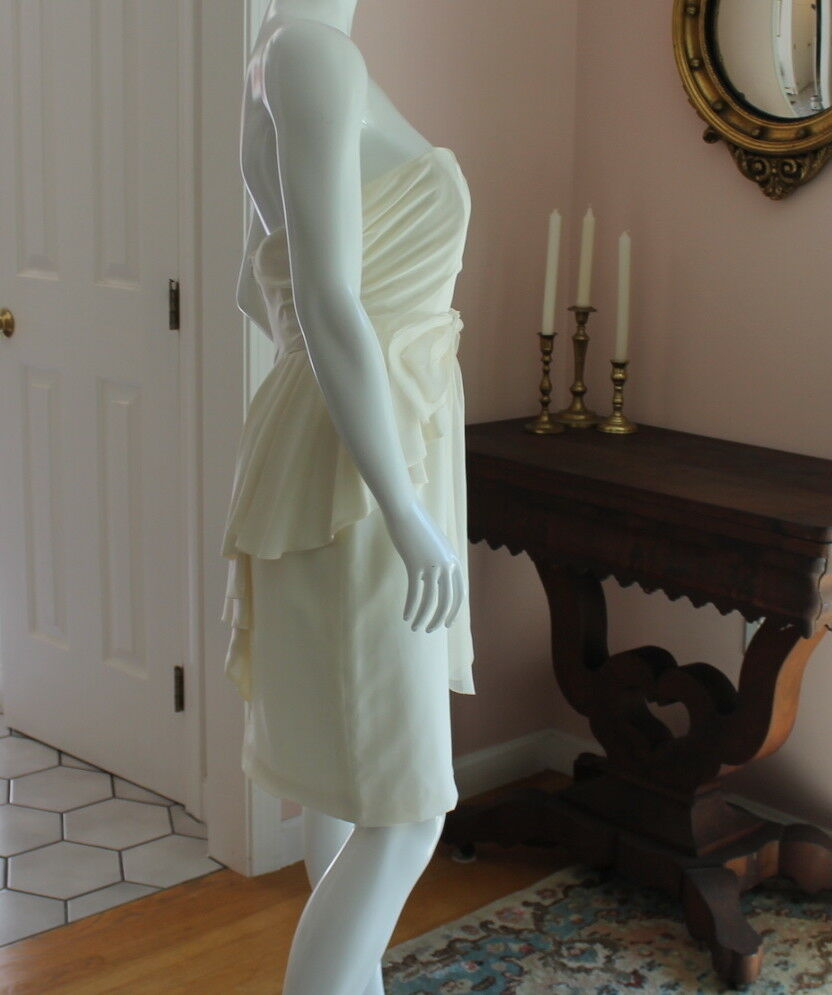 Ivory Ivory Ivory 100% Silk Priscilla of Boston Strapless Dress with Peplum Skirt and Bow fe609d