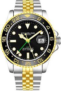 Stuhrling Aqua-Diver 3968 Swiss Quartz Men's 2 Tone  Bracelet Black Dial Watch