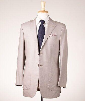 NWT $8950 KITON NAPOLI Lightweight 100% Cashmere Suit 38 R Beige Fine-Stripe