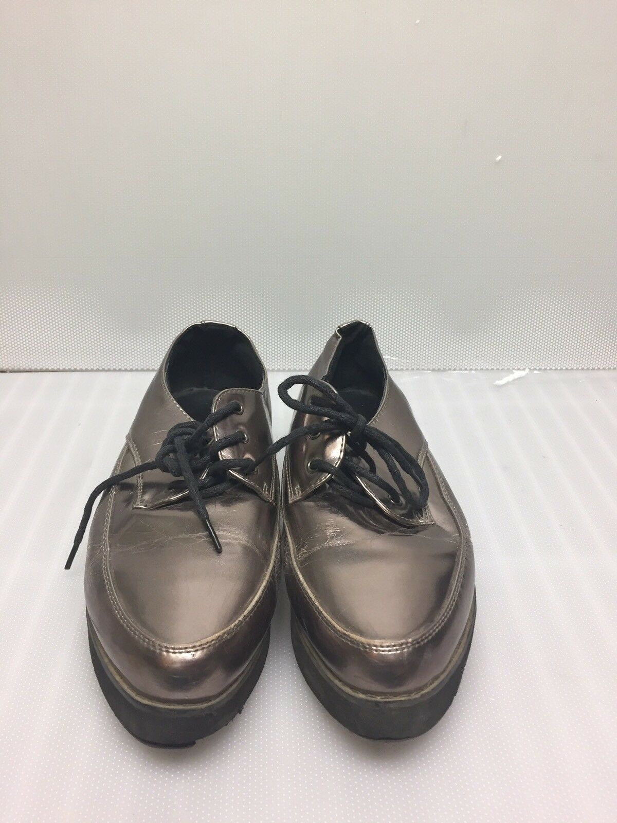 Lace up synthetic leather shiny gold bronze shoes size 6