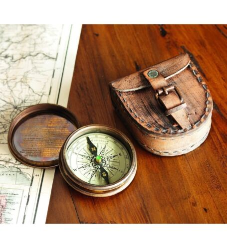 Antiqued Brass Compass Robert Frost/'s The Road Not Taken Poem With Leather Case