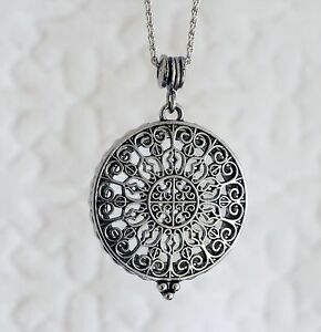Vintage style silver filigree magnifying glass pendant long necklace vintage style silver filigree magnifying glass pendant long aloadofball Image collections