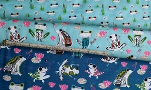 Hop-to-it-FROGS-in-Pond-100-cotton-fat-quarters-from-QT-Fabrics