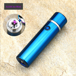 Electric-Dual-Arc-Plasma-USB-Recharge-Flameless-Windproof-Lighter-JL108-Icy-Blue