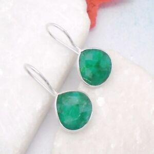 Indischer-Smaragd-gruen-Design-Ohrringe-Haenger-Ohrhaenger-925-Sterling-Silber-neu