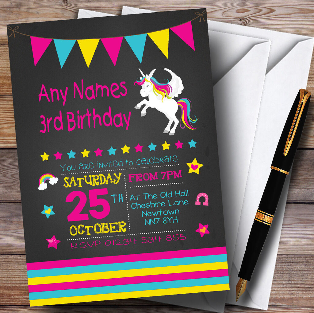 Craie Licorne Licorne Licorne rose Childrens Birthday Party Invitations ee3c33