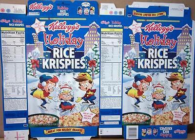 1997 Holiday Kellogg/'s Rice Krispies Caixa De Cereais Sem Uso Factory Flat oc112