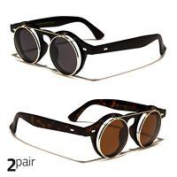 2 PC Cool Flip Up Lens Steampunk Vintage Retro Round Sunglasses Silver Tortois a
