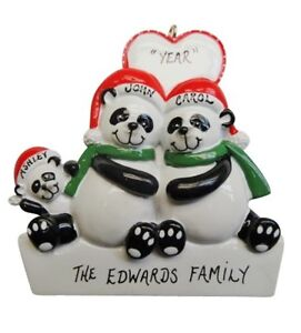 Personalized Panda Family of 3 Christmas Ornament