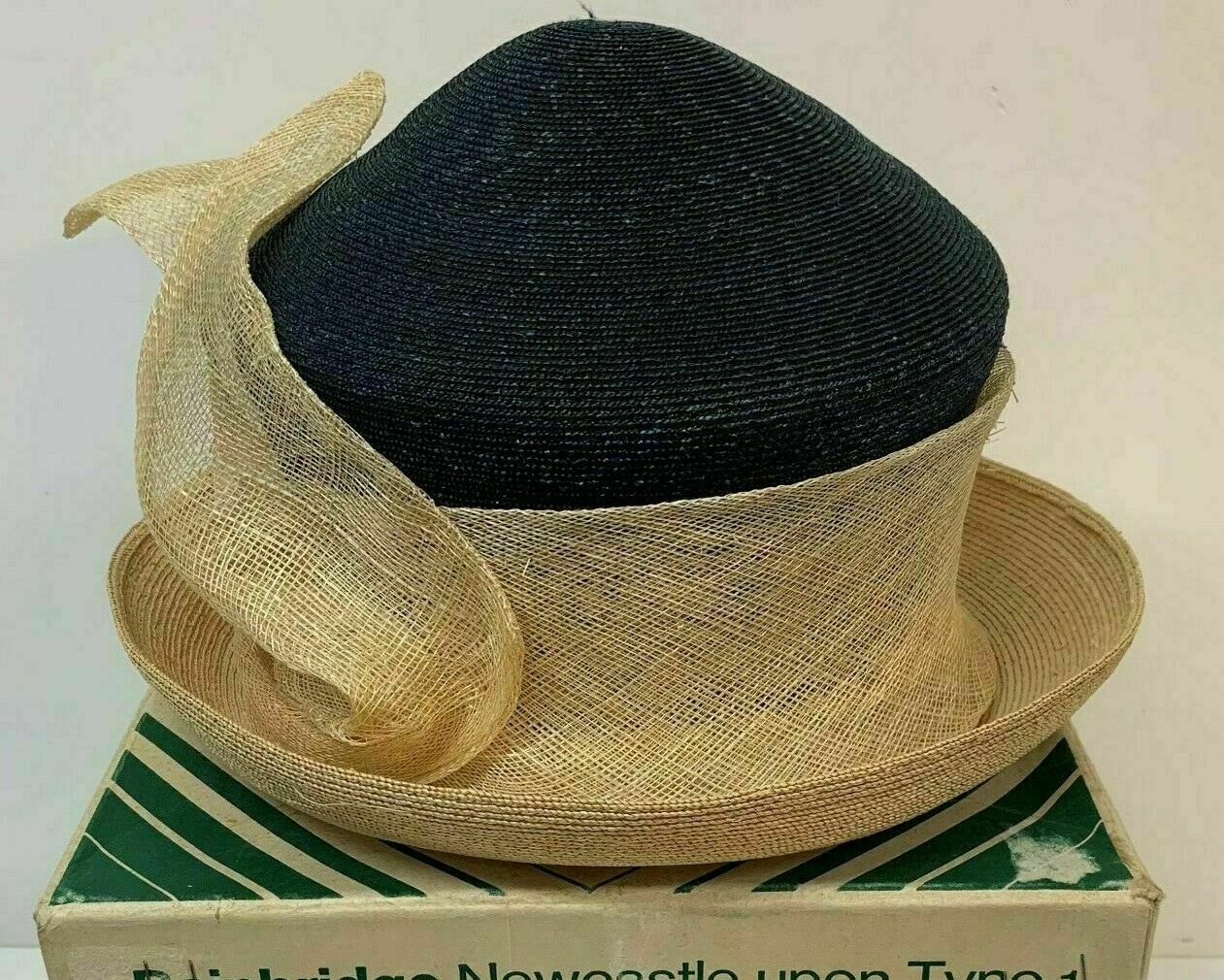 hat Frederick Fox London Black Beige Stylish with box ladies Races Weddings