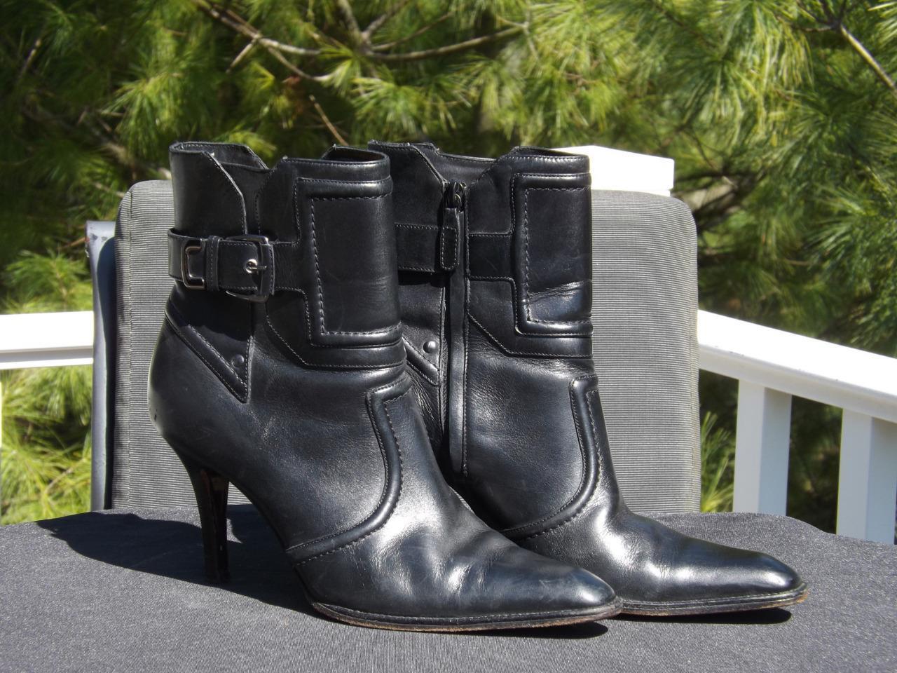 Cole Haan Schwarz Leder Stiefeletten Größe 9 B 3.5   Absatz Seite Zip Eckig