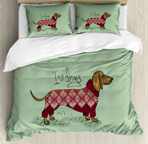 Dachshund Duvet Cover Set with Pillow Shams Animal in Clothes Print