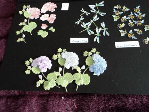 TATTERED LACE 3D DECOUPAGE GARDEN PARTY GERANIUM DIE CUTS X 10 /& FREE CUTS