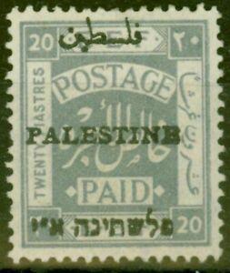 Palestine-1920-20p-Pale-Gris-SG26d-Type-4-Erreur-Fin-amp-Frais-MTD-Excellent-Etat