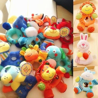1PC Cute Kids Baby infant Animal Hand bell Stroller Bells Developmental Toy BMP