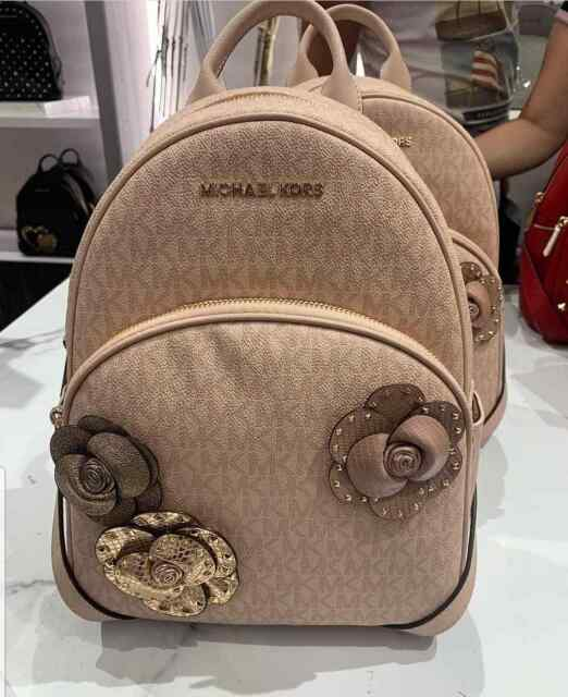 e7b6e6b17dad6 Michael Kors Abbey Medium Flower Detailed Backpack 35H8GAYB2B in Ballet Pink