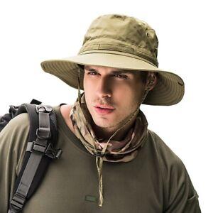 Mens Waterproof Sun Hat Outdoor Sun Protection Bucket Safari Cap Breathable New