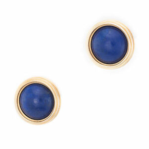ab4b58a9bcd0c7 Lapis Lazuli Round Disc Stud Earrings Vintage 14k Yellow Gold Estate ...