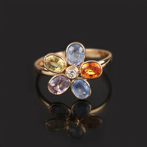 Genuine-2-Ct-Multi-Sapphire-Gemstone-Floral-Shaped-Diamond-Ring-18k-Yellow-Gold