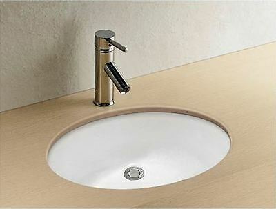 Round under mount Basin Vanity Sink & pop up plug waste no tap hole