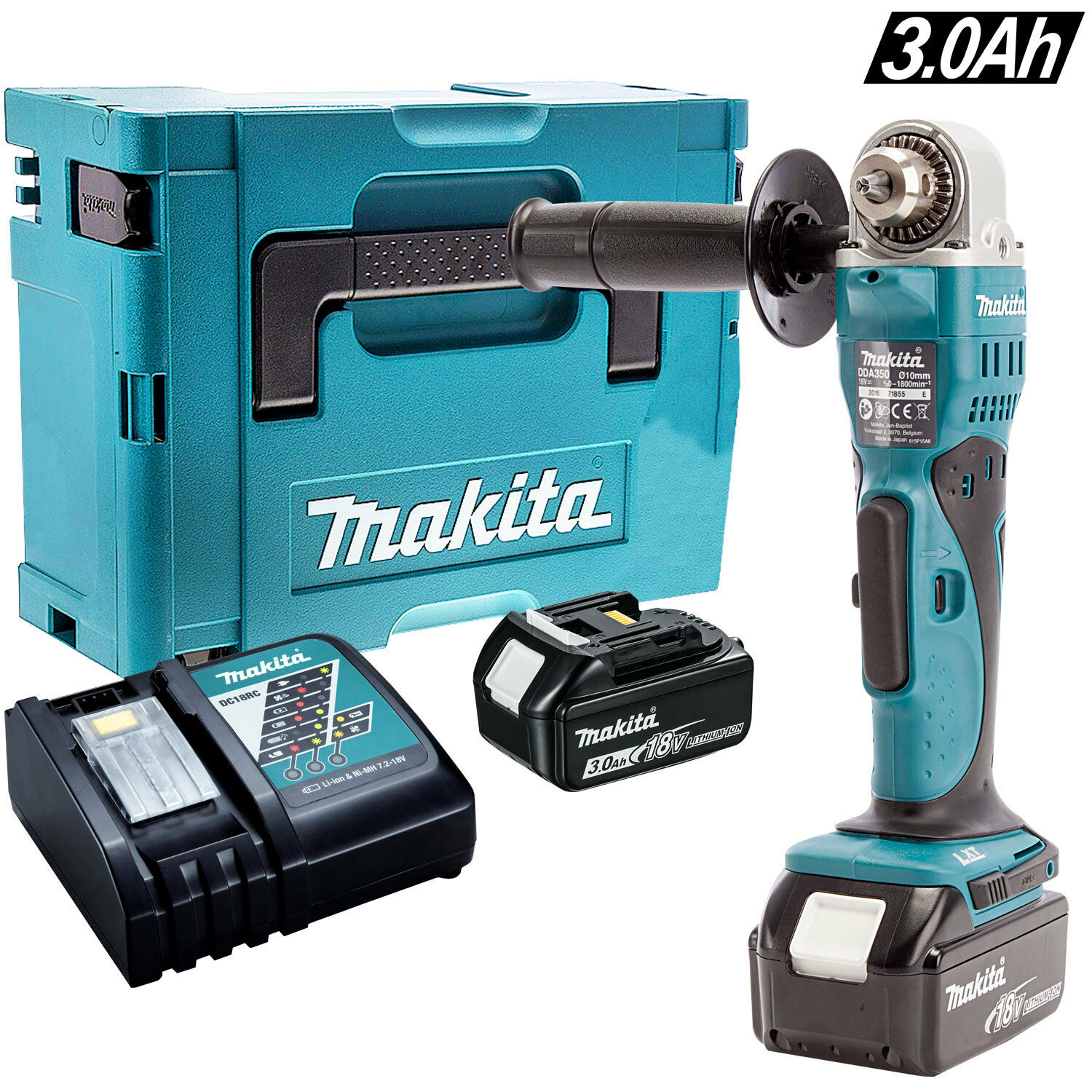 Makita DDA350Z 18V Cordless Angle Drill With 2 x 3.0Ah Batteries Charger & Case