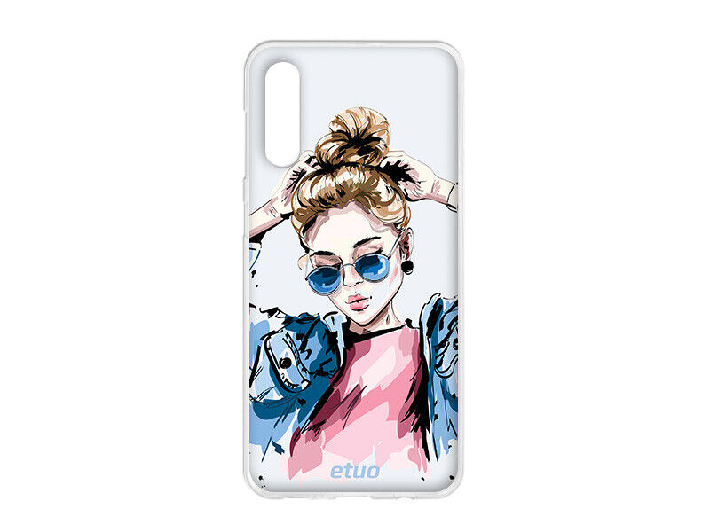Samsung Galaxy A30s Hülle etuo Design Case Cover Tasche Silikon TPU Vouge Girl
